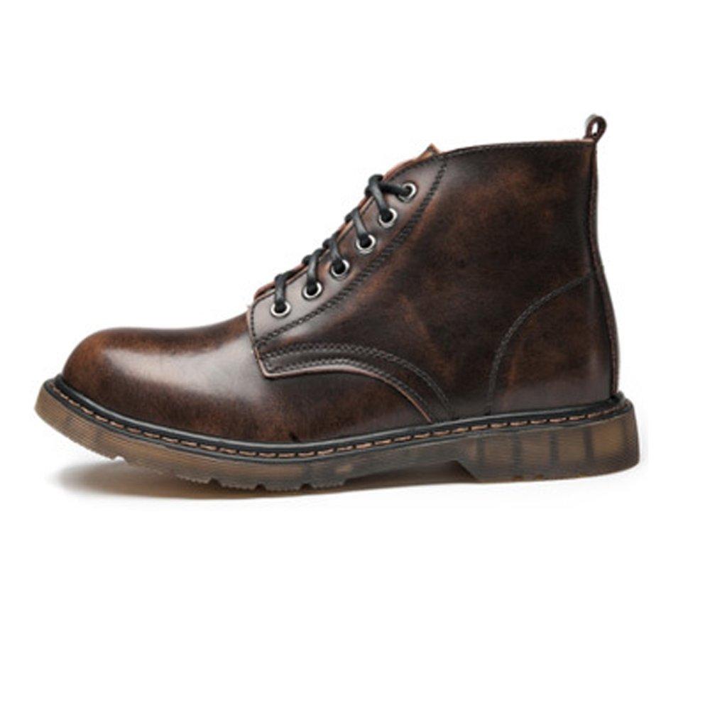 Ruanyi Herrenschuhe Klassische Schnürschuhe aus Leder mit hohem Oberteil und hohem Absatz für Herrenstiefel (Farbe   Braun, Größe   41 EU)