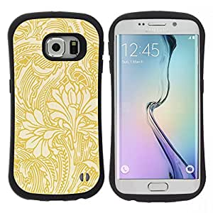 "Pulsar iFace Series Tpu silicona Carcasa Funda Case para Samsung Galaxy S6 EDGE , Gold papel tapiz floral Beige Flores"""