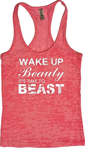 Orange Arrow Womens Workout Clothing (L, Neon) - Wake up Beauty Time to Beast - Motivational Tank Top