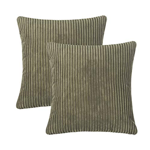 - CARRIE HOME Pack of 2 Solid Army Green Striped Corduroy Throw Pillow Covers Super Soft Plush Velvet Accent Pillow Case 18 x 18 inch (Army Green Both Sides)