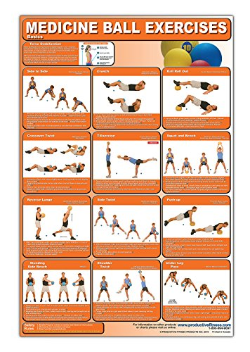 Medicine Ball Exercises Poster/Chart - Medicine Ball Poster - How to Workout with Medicine Balls - Develop Speed and Agility - Build Stamina - Medicine Ball Workout - Medicine Ball Routine