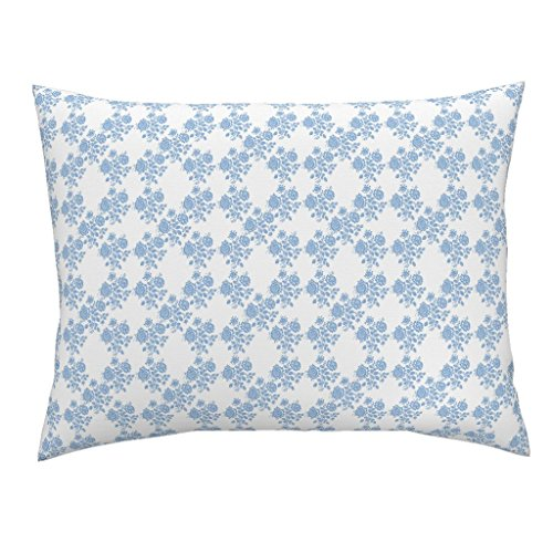 Roostery Blue Euro Knife Edge Pillow Sham Swedish Rose Trellis in Blueberry Blue by Lilyoake Natural Cotton Sateen Made