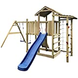 vidaXL Wooden Playhouse Set with Ladders Slide Swings Kid Outdoor Garden Playground