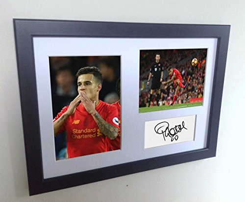 Signed Black Soccer Philippe Coutinho Liverpool Autographed Photo Photographed Picture Frame A4 12x8 Football Gift