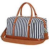 Canvas Duffle Bag PU Leather Weekend Bags for Men and Women (Blue Stripe)