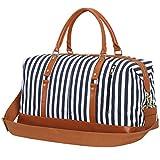 Weekender Overnight Bag Women Mens Duffel Bag Carry-on Travel Tote (Blue Stripe)