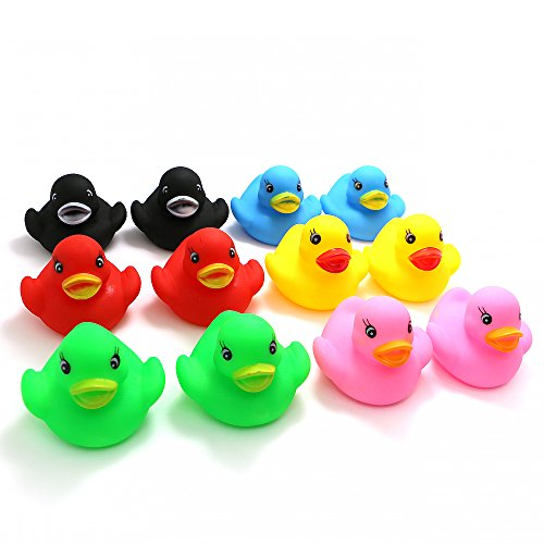 - Novelty Place Float & Squeak Rubber Duck Ducky Baby Bath Toy for Kids Assorted Colors (12 Pcs)