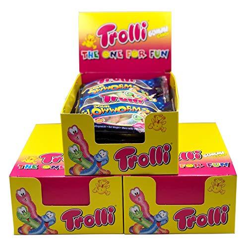 Trolli Glühwürmchen Fruchtgummi Sauer 3 Kartons mit je 12 Beuteln (1,8kg Ges.) - Ideal als Mitgebsel