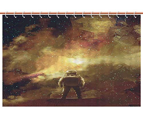 iPrint Multicolor Shower Curtain [ Fantasy Art House Decor,Cosmonaut Boy Standing Against Cosmos Nebula Themed Solar Artprint,Tan Black ] Bathroom Accessories Shower Curtain Set by iPrint