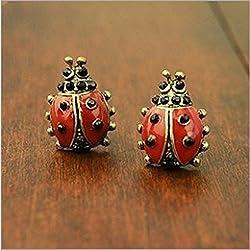 JD Million shop New Hot !! Fashion Fine Jewelry European And American Retro Style Lifelike Ladybug Stud Earrings For Women E-318