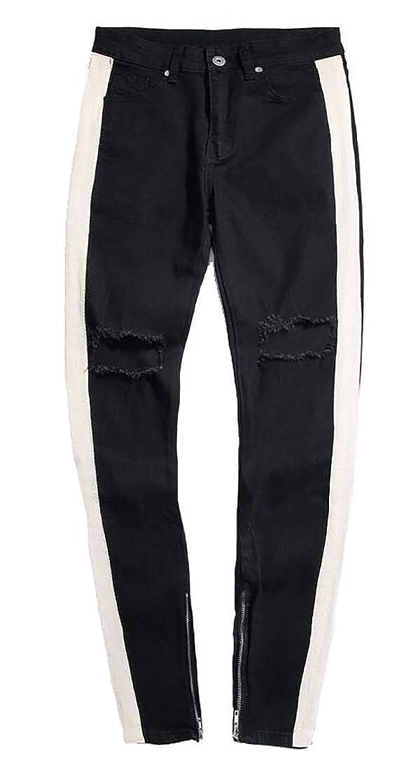 Mens Slim Punk Broken Holes Jeans Ankle-Zip Fashion Denim Pants