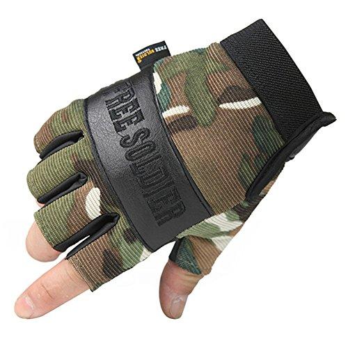 PANDA SUPERSTORE Camouflage Fingerless Mountain Climbing Gloves Climbing Gear Gloves, L