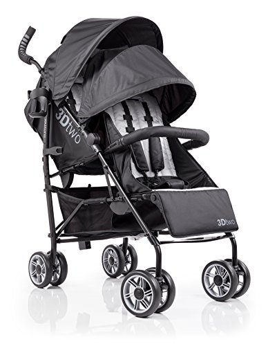 Summer Infant 3Dtwo Double Convenience Stroller, Gray Squared by Summer Infant