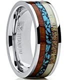 Men's Titanium Ring Wedding Band with Real Deer Antler, Koa Wood and Turquoise Inlay, Outdoor Hunting