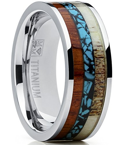 Bands Titanium Turquoise - Metal Masters Co. Men's Titanium Ring Wedding Band with Real Deer Antler, Koa Wood and Turquoise Inlay, Outdoor Hunting SZ 11