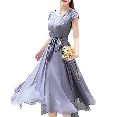 Linie Seide Abendkleid A Kleid DISSA Einfarbig Damen Kleider S68096 Midi Übergröße Silber B0ZqfX7x