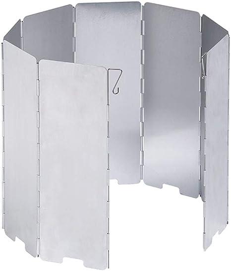 D-Orange Parabrisas Plegable Camping, 10 Placas Al Aire Libre Camping Estufa Parabrisas, Parabrisas de Viento de Aleación De Aluminio para Estufa de ...