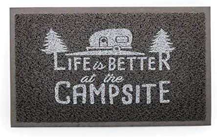 Camco Life Is Better at The Campsite Outdoor Indoor Welcome Mat – Weather and Mildew Resistant Doormat Traps Dirt and Liquid Spongey Comfortable Feel Measures 26 x 15 – Gray 53200