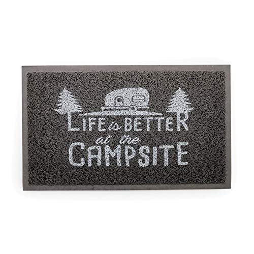 Camco Life Is Better at The Campsite Outdoor & Indoor Welcome Mat - Weather and Mildew Resistant Doormat | Traps Dirt and Liquid | Spongey Comfortable Feel | Measures 26 ½