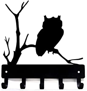 The Metal Peddler Owl Bird Key Rack Hanger - Small 6 inch Wide - Made in USA
