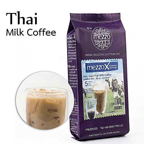 MezzoX Hot Iced Thai Coffee - World's Easiest DIY Set 5 Cups. No Special Equipment, Ingredients Needed. Incl. Drip Coffee Bag, Special Milk Powder. Enjoy Thai Coffee Anytime Anywhere. Thailand Import.