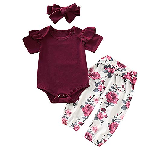 3PCS Infant Toddler Baby Girl Summer Clothes Ruffle Romper Top Bodysuit + Floral Pants + Headband Outfit Set (Wine Red & A, 6-12 Months)