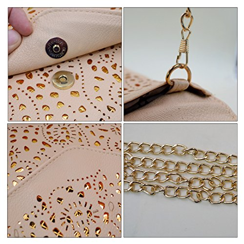 Mily Hollow Out Flower Envelop Clutch Chain Tote Shoulder Bag Handbag Beige by Mily (Image #7)