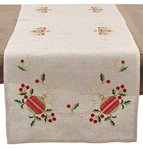SARO LIFESTYLE Embroidered Ornament Design Christmas Linen Blend Table Runner/007.N1690B, 16