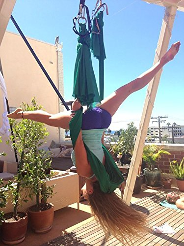Dasking 5m Premium Aerial Silks Equipment Aerial Yoga Hammock Set antigravity yoga Swing Aerial Silk Yoga Set Safe Deluxe Aerial Kit (Dark Green)
