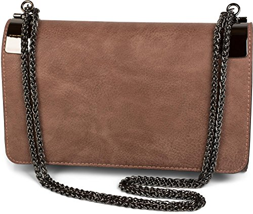 styleBREAKER clutch, evening bag with metal clasp and plain coil chain, vintage design, ladies 02012046, Color Taupe Dark Old Rose