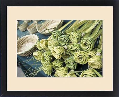 Framed Print of Grass woven roses for sale at market, Charleston, South Carolina. USA