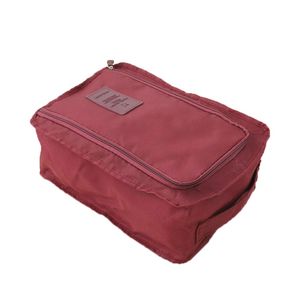 Clearance Deal! Fitfulvan Convenient Travel Storage Bag Nylon Portable Organizer Bags Shoe Sorting (Wine Red)