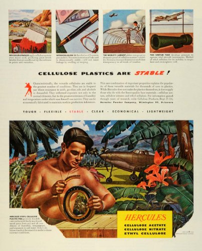 1944 Ad Hercules Powder Co Ethyl Cellulose Plastic Peel Products Soldier Jungle - Original Print Ad