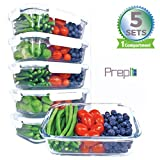 [36oz, 5-Pack Premium] Glass Meal Prep Containers 1 Compartment Set- Food Lunch Storage- Airtight Locking Lids -Tupperware- Portion Control -Microwave, Freezer, Oven & Dishwasher Safe (4.5 Cups)