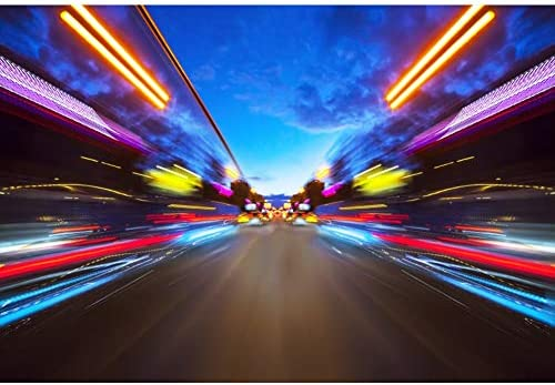 CSFOTO 10x8ft Car Racing Themed Backdrops for Photography Speed Racing Backgrounds Birthday Party Banner Neon Light Auto Motorsport Champion Sport Competition Adults Portrait Wallpaper