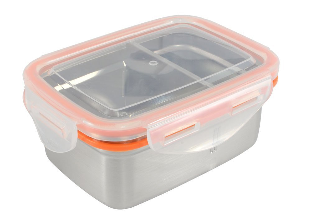 Mighty Hippo RECTANGLE Stainless Steel BENTO Food Container (Size: SMALL) - 2 Compartments (Removable Divider / Leak Proof / Dishwasher Safe / Reusable / Food Safe / Metal / BPA Free / Meal Prep)