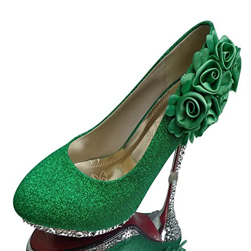Allhqfashion Womens Shiny Pumps Pull-on Pumps Schoenen Met Bloemen, Greenhxsf6, 41