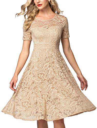 - AONOUR AR8006 Women's Vintage Floral Lace Elegant Cocktail Formal Swing Dress with Short Sleeve Champagne XL
