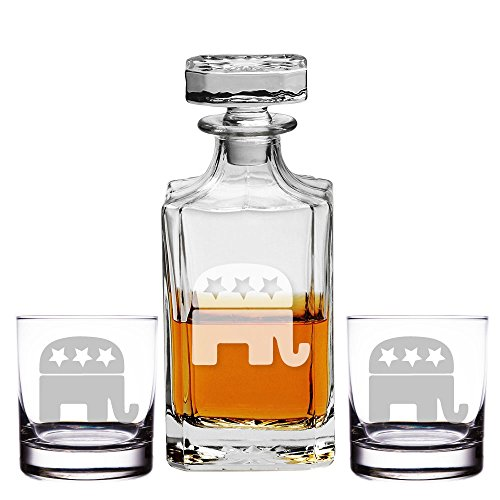 (Republican Logo Engraved Decanter and Rocks Glasses, Set of 3)
