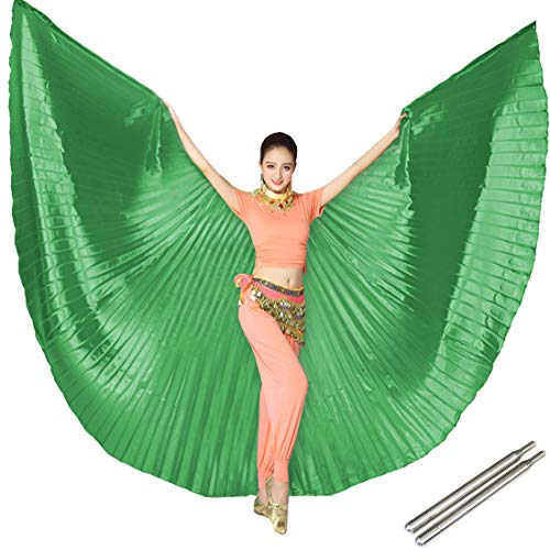 Calcifer Egyptian Egypt Belly Dance Angel Isis Wings with 2 Telescopic Sticks (Green) (Green Dance Cane)