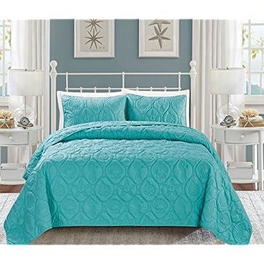 Seashell Turquoise Reversible Bedspread/Quilt Set Queen