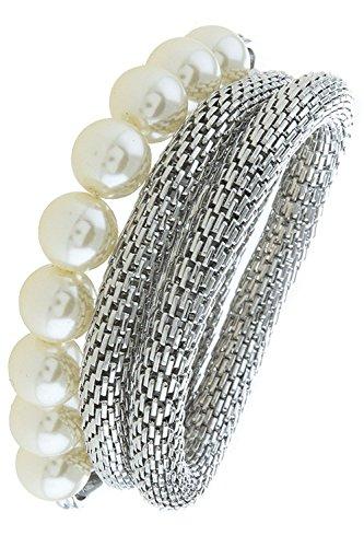 John Hardy Silver Chain Bracelet (TRENDY FASHION JEWELRY FAUX PEARL MESH CHAIN BRACELET SET BY FASHION DESTINATION | (Silver))
