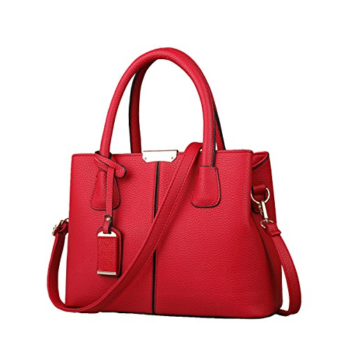 B&E Life Stylish Women Pu Leather Vertical Utility Top Handle Handbag Business Briefcase Office Lady Purse (Red Purse)