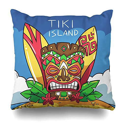 """Suesoso Decorative Pillows Case 18""""x18"""" Two Sides Printed Soft Cotton Tiki Mask Sur Boards and Palm Leaves Nice Gift Indoor/Outdoor Throw Pillow Cover Decorative Home Decor Garden Kitchen Sofa from Suesoso"""