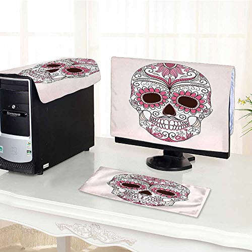 Jiahonghome dust Cover for Computer 3 Pieces Sugar Skull Mexican Ornaments Calavera Catrina Inspired Folk Art Macabre Pink Light Pink White Suit Computer dust Cover /28