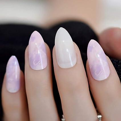 EchiQ Hot 24 uñas postizas de mármol de color rosa morado blanco ...