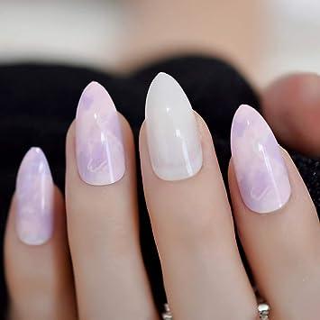 EchiQ Hot 24 uñas postizas de mármol de color rosa morado ...