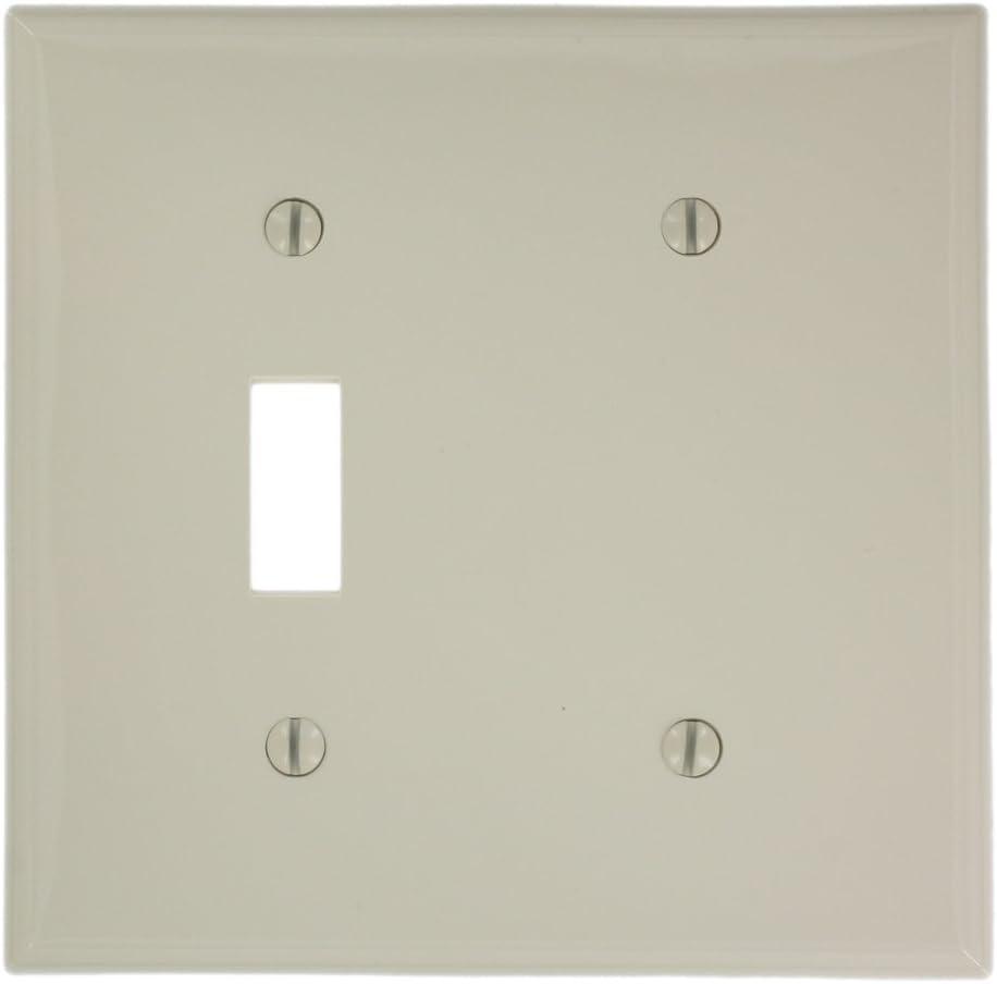 Leviton 80706 T 2 Gang 1 Toggle 1 Blank Device Combination Wallplate Standard Size Light Almond Switch Plates