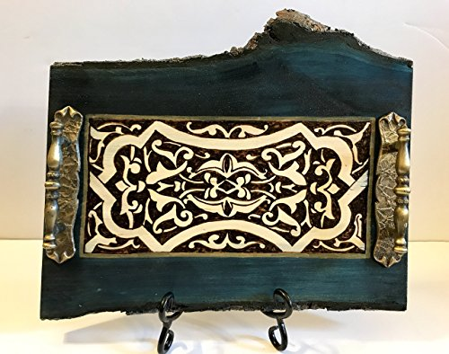 Exquisite Handmade and Handcrafted Beautiful and Elegant Midnight Blue Wood Natural Tray With A Medieval Woodburned Design - Rustic Home Decor, Wedding Present, Or Unique Coffee Table Accent by The Arabesque