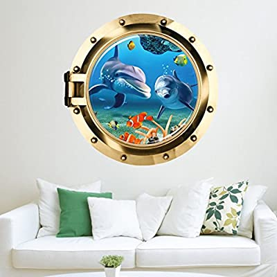 Bohonan Submarine Murals,3d Window View Ocean Wall Sticker Wall Decals Stickers Removable for Bedrooms